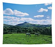 Two Horses Grazing In A Field Tapestry
