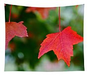 Two Red Maple Leaves Tapestry