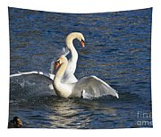 Two Swans Playing Tapestry