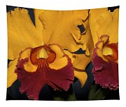 Two Yellow And Red Orchids Tapestry