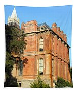 Uc Berkeley . South Hall . Oldest Building At Uc Berkeley . Built 1873 . The Campanile In The Back Tapestry