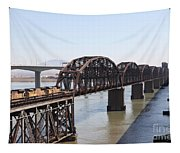 Union Pacific Locomotive Trains Riding Atop The Old Benicia-martinez Train Bridge . 5d18849 Tapestry