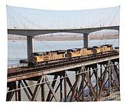 Union Pacific Locomotive Trains Riding Atop The Old Benicia-martinez Train Bridge . 5d18851 Tapestry