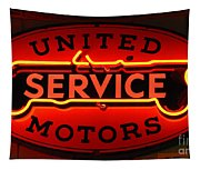 United Motors Service Neon Sign Tapestry