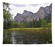 Valley View Of Bridalveil Falls Tapestry