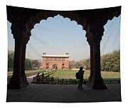 View From Inside The Red Fort With Tourist Tapestry
