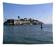 View Of Alcatraz From A Boat That Is Leaving The Island Tapestry