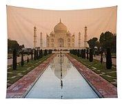 View Of Taj Mahal Reflecting In Pond Tapestry