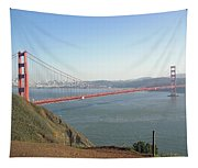View Of The Golden Gate Bridge And San Francisco From A Distance Tapestry
