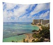 View Of Waikiki And Beach Tapestry