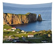 Village And Perce Rock At Sunset Tapestry