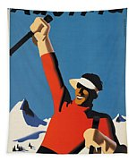 Vintage Austrian Skiing Travel Poster Tapestry