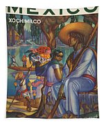 Vintage Mexico Travel Poster Tapestry