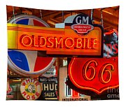 Vintage Neon Sign Oldsmobile Tapestry