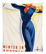 Vintage Winter In Austria Travel Poster Tapestry