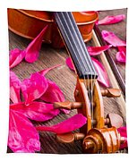 Violin And Roses Tapestry