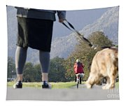 Walking With Her Dogs Tapestry