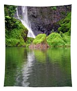 Waterfall Reflection In Tahiti Tapestry