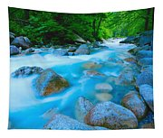 Water Rushing Through Rocks Tapestry