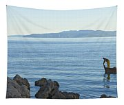 Waterfront Of Opatija Showing Statue Tapestry