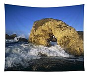 Wave Splashing Against Natural Arch Tapestry