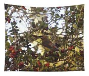 Wax Wing In A Berry Tree  Tapestry