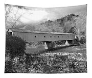 West Cornwall Connecticut Covered Bridge Black And White Tapestry