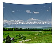 Westerly View Of The Bridger Mountains Tapestry