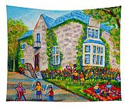 Westmount Birthday Party-montreal Urban Scene-little Girls Playing Tapestry