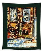 Westmount Porch In Early Autumn Montreal City Scene  Tapestry