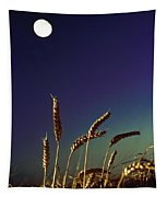 Wheat Field At Night Under The Moon Tapestry