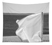 White Flag In Black And White Tapestry