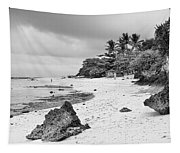 White Sand Beach Moal Boel Philippines Bw Tapestry