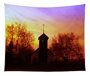 White Swan Church In The Sunset Tapestry