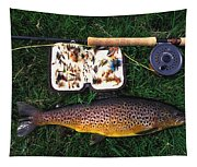 Wild Brown Trout And Fishing Rod Tapestry