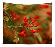 Wild Red Berry Reflections Tapestry