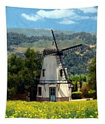 Windmill At Mission Meadows Solvang Tapestry