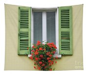 Window With Shutter Flowers Tapestry