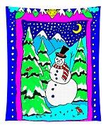 Winter Snowman Tapestry