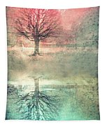 Winter's Reds And Blues Tapestry