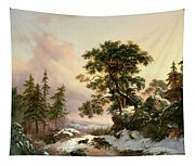 Wolves In A Winter Landscape Tapestry