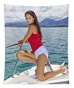 Woman Boating At Kaneohe Tapestry