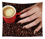 Woman Hand Holding A Cup Of Latte Tapestry