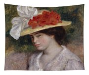 Woman In A Flowered Hat Tapestry