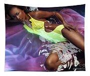 Woman In Swimsuit Lying In Water Tapestry