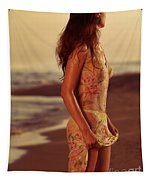 Woman In Wet Dress At The Beach Tapestry