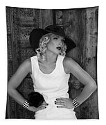 Woman In White  Bw Tapestry