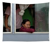 Woman On Bus Laos Tapestry
