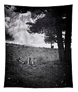 Woman On The Hill Tapestry