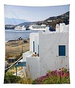 Woman On The Terrace - Mykonos Tapestry